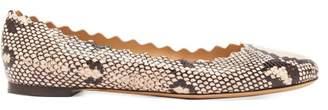 Chloé Lauren Python Effect Scallop Edge Leather Flats - Womens - White Multi