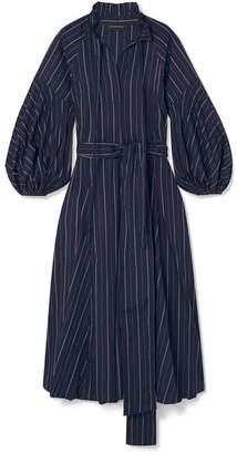Lee Mathews - Goldie Striped Cotton-poplin Midi Dress - Midnight blue