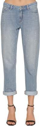 Karl Lagerfeld Embellished Slim Cotton Denim Jeans