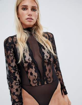 Asos DESIGN high neck lace & mesh long sleeve thong bodysuit