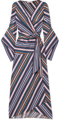 Peter Pilotto Striped Cotton-poplin Wrap Midi Dress - Navy