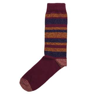 40 Colori - Burgundy Striped Melange Thick Organic Cotton Socks