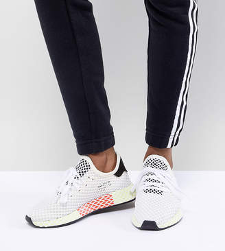 adidas Deerupt Runner Sneakers In White And Yellow