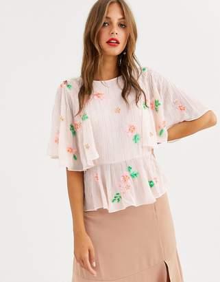 Asos Design DESIGN embellished top with flutter sleeve