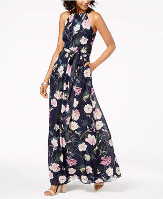 Sl Fashions Floral-Print Chiffon Maxi Dress