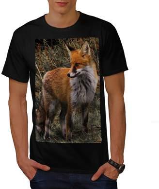 Hunter Wellcoda Flaming Fox Mens T-shirt, Clever Detailed Design Print Tee 2XL