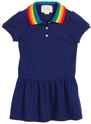 Gucci Polo Rainbow-Collar Dress w/ Butterfly Embroidery, Size 4-12
