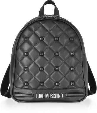 Love Moschino Black Eco-leather Studded Backpack