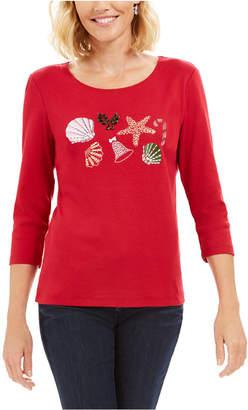 Karen Scott Cotton Shells Holiday Graphic Top
