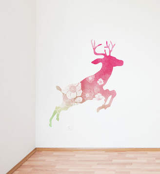 Little Sticker Boy Watercolor Flowery Deer Wall Decal
