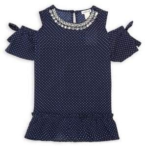 Monteau Girl's Cold-Shoulder Embellished Neck Ruffle Top