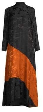 Ganni Silk Jacquard Colorblock Midi Dress