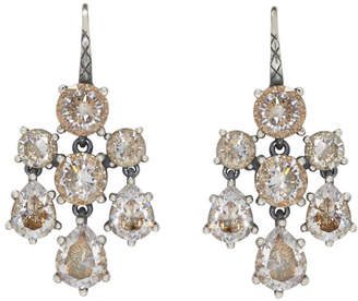 Bottega Veneta Silver Chandelier Zircon Earrings