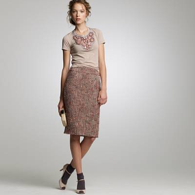 Blushed tweed pencil skirt