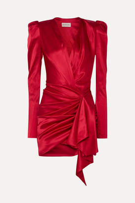 Alexandre Vauthier Asymmetric Silk-blend Satin Mini Dress - Red