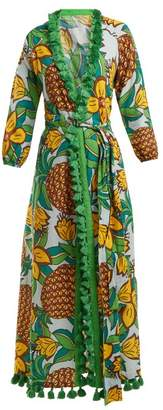 Rhode Resort - Lena Pineapple Print Cotton Midi Dress - Womens - Yellow Print