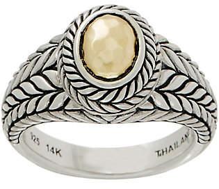 JAI Sterling Silver & 14K Gold Basketweave Ring