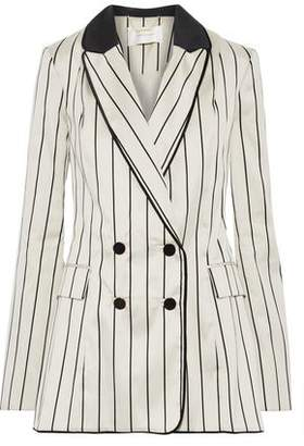 Zimmermann Maples Collegiate Double-breasted Pinstriped Cotton-blend Sateen Blazer