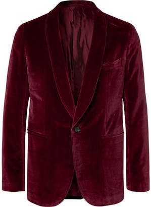 Caruso Burgundy Butterfly Slim-Fit Unstructured Cotton-Velvet Tuxedo Jacket
