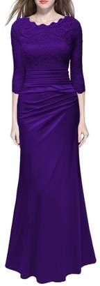 QIYUN.Z Women's Retro 3/4 Sleeve Elegant Lace Wedding Dress, M