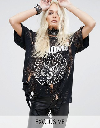 Reclaimed Vintage Inspired Distressed Ramones Tour T-Shirt With Bleach Splat $68 thestylecure.com