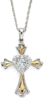 JCPenney FINE JEWELRY Aquamarine & Lab-Created White Sapphire Two-Tone Cross Pendant Necklace