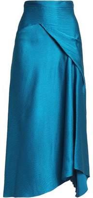 Roland Mouret Lathbury Draped Hammered Silk-Satin Midi Skirt