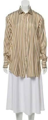 Loro Piana Striped Silk Button-Up Top w/ Tags