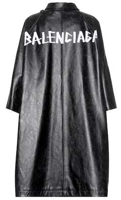 Balenciaga Pulled leather coat