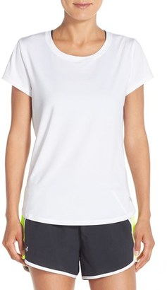 Women's Under Armour 'Fly By' Mesh Back Tee $34.99 thestylecure.com