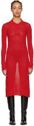 Maison Margiela Red Irregular Rib Knit Dress