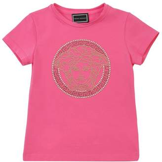 Versace EMBELLISHED MEDUSA COTTON JERSEY T-SHIRT