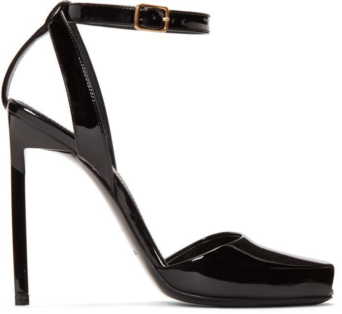 Saint Laurent Black Patent Leather Edie Peep Toe Sandals