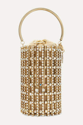 Rosantica Artemide Crystal-embellished Gold-tone And Velvet Bucket Bag