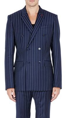 Givenchy GIVENCHY MEN'S PINSTRIPED TWILL DOUBLE-BREASTED SPORTCOAT-NAVY SIZE 48 EU $3,325 thestylecure.com