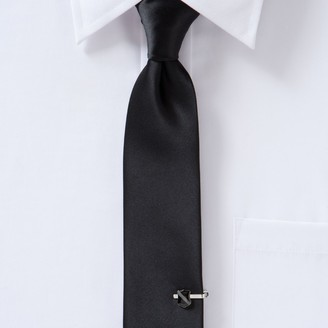 Apt. 9 Men's Satin Solid Skinny Tie with Shield Tie Chain