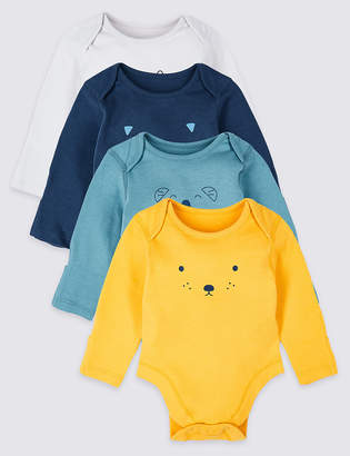 Marks and Spencer 4 Pack Pure Cotton Graphic Bodysuits
