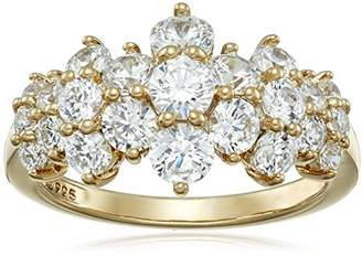 Swarovski Yellow Gold Plated Sterling Silver Cluster Ring set with Round Cut Zirconia (1.5 cttw)