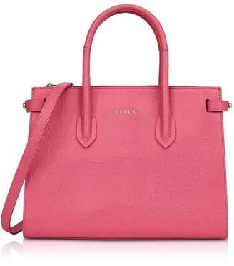 Furla Ortensia Leather E/w Pin Small Tote Bag