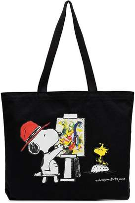 Pintrill Black Snoopy Paints Tote by Tomokazu Matsuyama