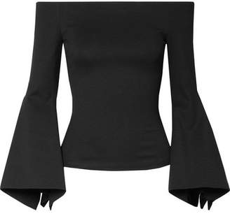 Rosetta Getty Off-the-shoulder Stretch-ponte Top - Black