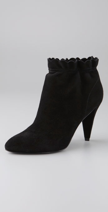 Marc By Marc Jacobs Slouch Ankle Ruffle Suede Booties