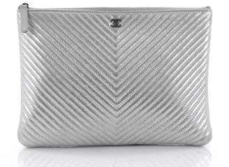 Chanel O Case Clutch Quilted Chevron Metallic Medium Silver