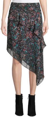IRO Blink Floral Tiered Asymmetrical Midi Skirt