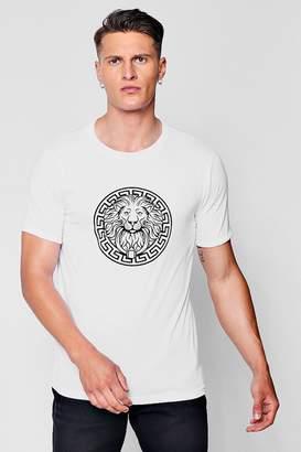 boohoo Lion Print Rolled Sleeve T-Shirt