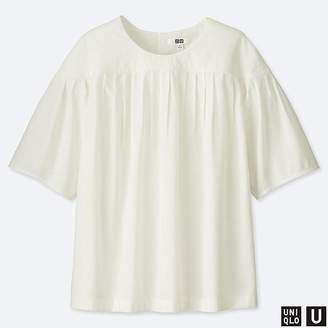 Uniqlo Women's U Pleated Short-sleeve Blouse