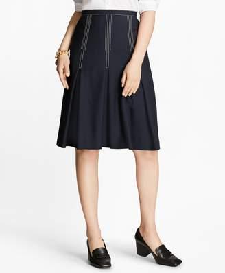 Brooks Brothers Pleated Wool Crepe Skirt