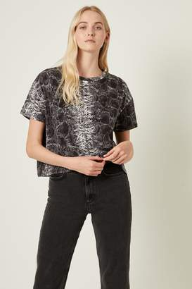 French Connenction Snake Print Jersey Crop Top