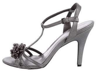 Calvin Klein Embossed T-Strap Sandals