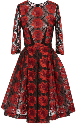 Zac Posen Poppy Embroidery Three Quarter Sleeve Dress $1,990 thestylecure.com